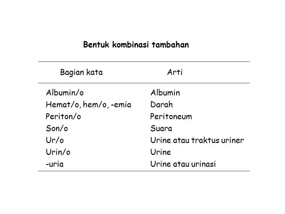 Bentuk kombinasi tambahan Bagian kataArti Albumin/o Hemat/o, hem/o, -emia Periton/o Son/o Ur/o Urin/o -uria Albumin Darah Peritoneum Suara Urine atau