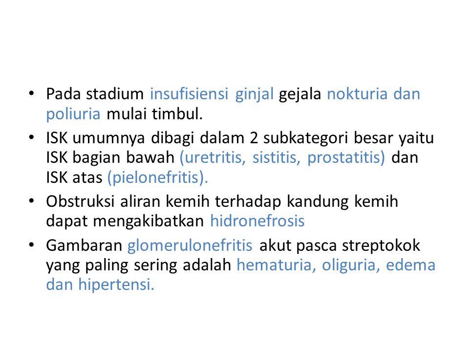 Pada stadium insufisiensi ginjal gejala nokturia dan poliuria mulai timbul. ISK umumnya dibagi dalam 2 subkategori besar yaitu ISK bagian bawah (uretr