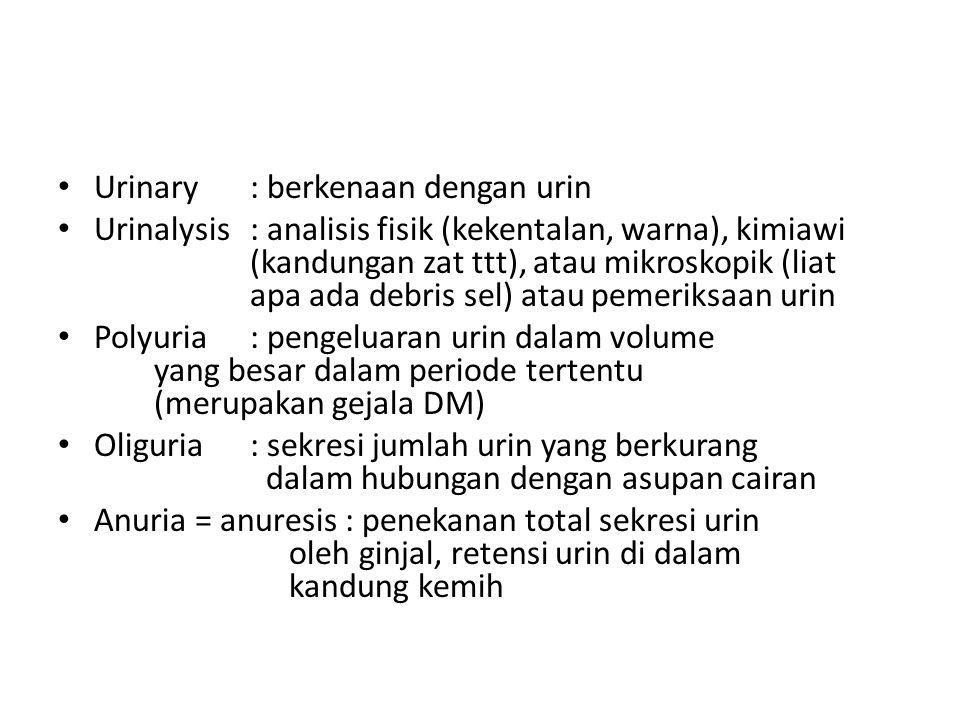 Urinary: berkenaan dengan urin Urinalysis: analisis fisik (kekentalan, warna), kimiawi (kandungan zat ttt), atau mikroskopik (liat apa ada debris sel)