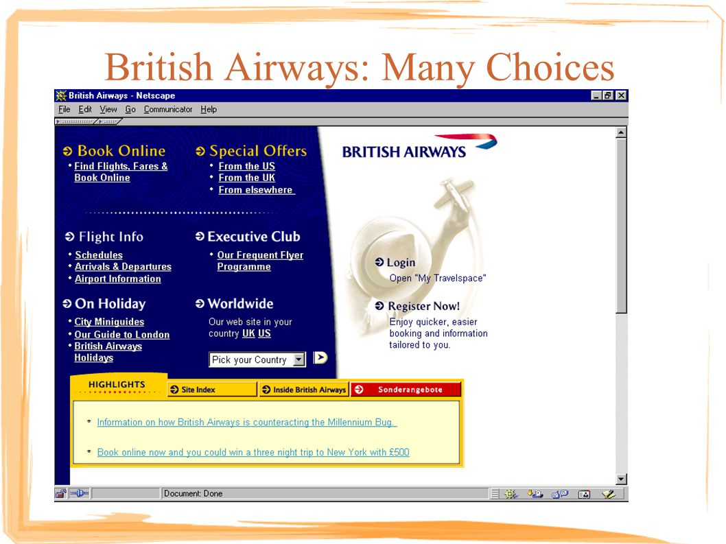 British Airways: Many Choices