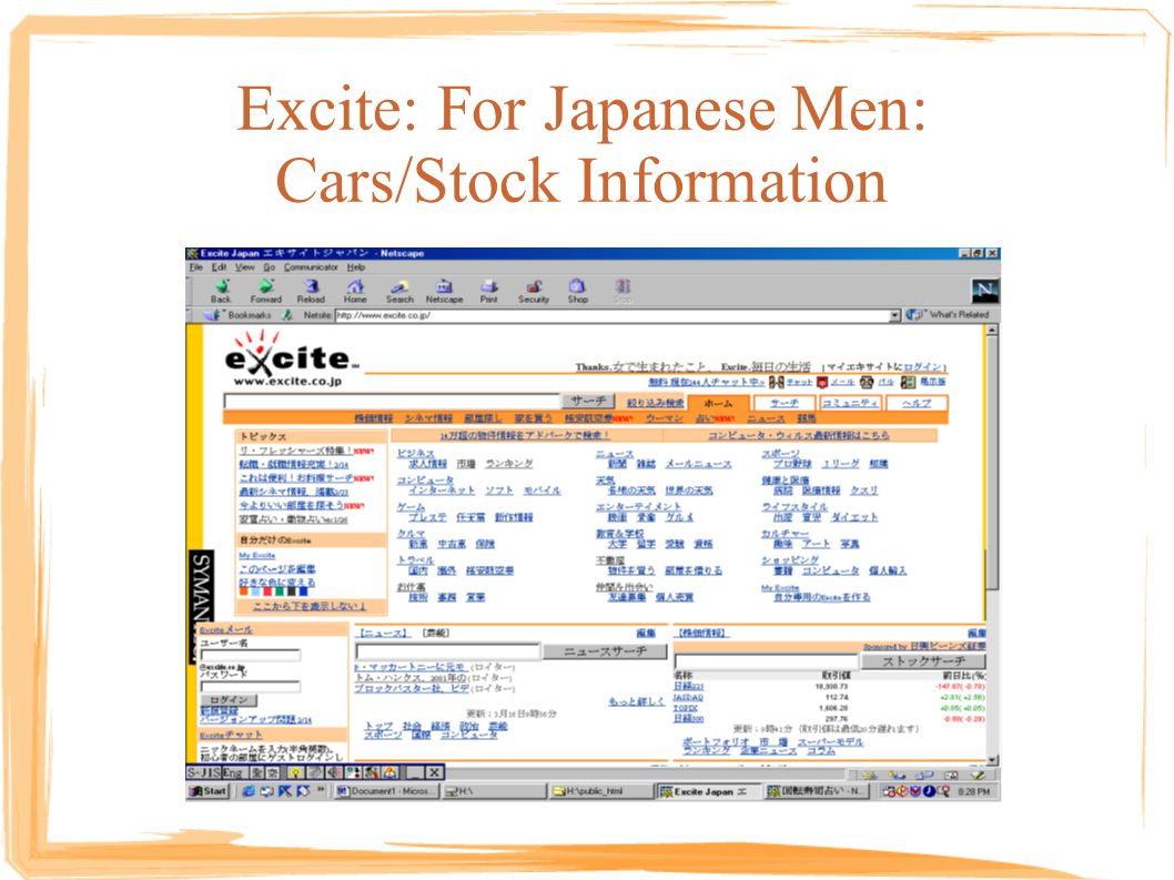 Excite: For Japanese Men: Cars/Stock Information