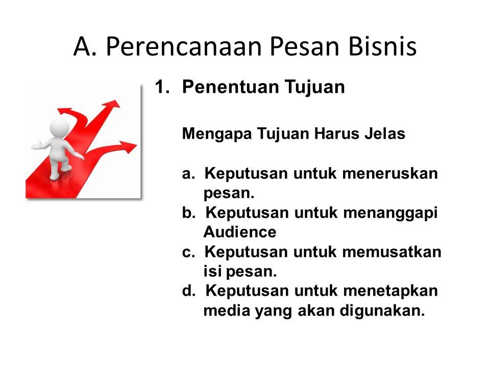 A. Perencanaan Pesan Bisnis 1.Penentuan Tujuan Mengapa Tujuan Harus Jelas a. Keputusan untuk meneruskan pesan. b. Keputusan untuk menanggapi Audience