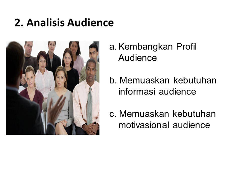  Menentukan Ukuran dan Komposisi Audience  Siapa Audience  Reaksi Audience  Tingkat Pemahaman Audience  Hubungan komunikator dengan Audience