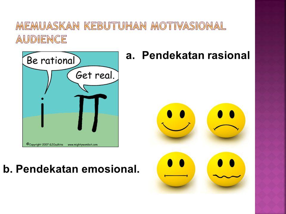 a.Pendekatan rasional b. Pendekatan emosional.