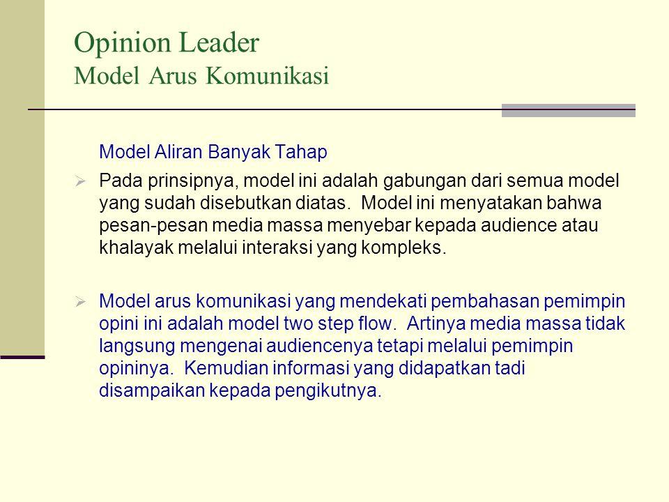 Opinion Leader Model Arus Komunikasi Model Aliran Banyak Tahap  Pada prinsipnya, model ini adalah gabungan dari semua model yang sudah disebutkan diatas.