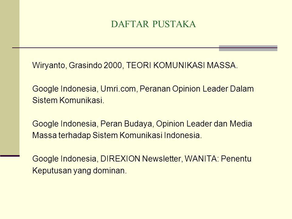 DAFTAR PUSTAKA Wiryanto, Grasindo 2000, TEORI KOMUNIKASI MASSA.