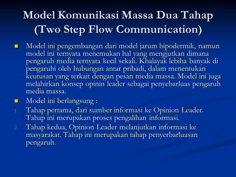 Model Komunikasi Massa Dua Tahap (Two Step Flow Communication) Model ini pengembangan dari model jarum hipodermik, namun model ini ternyata menemukan