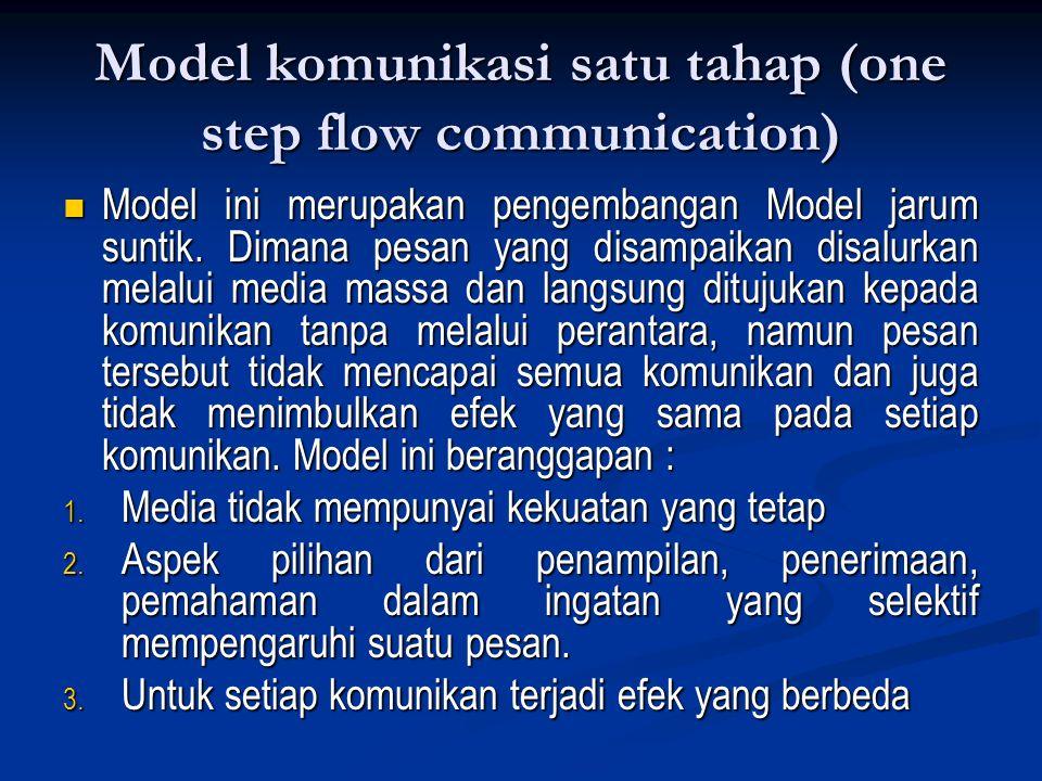 Model komunikasi satu tahap (one step flow communication) Model ini merupakan pengembangan Model jarum suntik. Dimana pesan yang disampaikan disalurka
