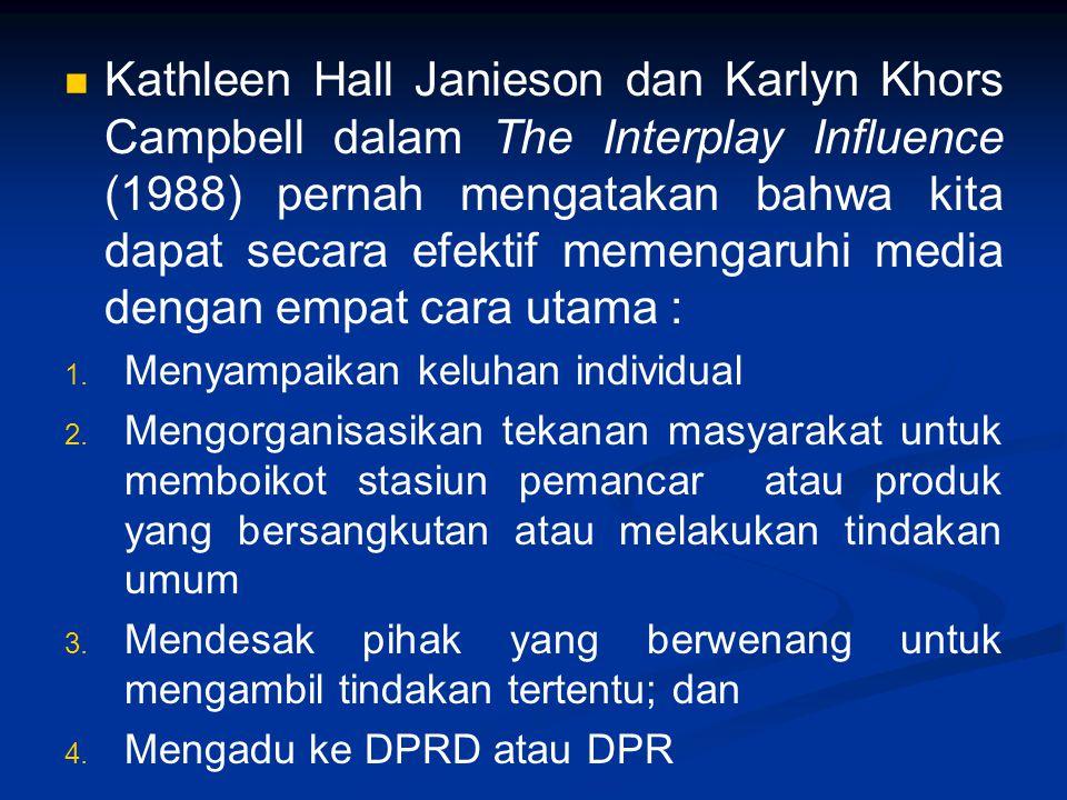 Kathleen Hall Janieson dan Karlyn Khors Campbell dalam The Interplay Influence (1988) pernah mengatakan bahwa kita dapat secara efektif memengaruhi me