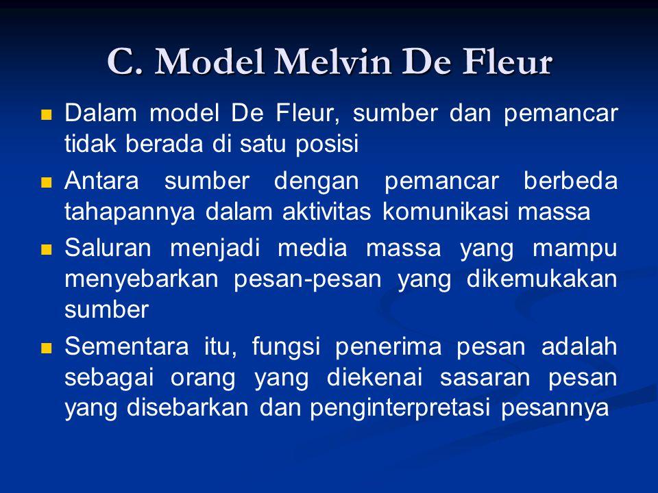 C. Model Melvin De Fleur Dalam model De Fleur, sumber dan pemancar tidak berada di satu posisi Antara sumber dengan pemancar berbeda tahapannya dalam
