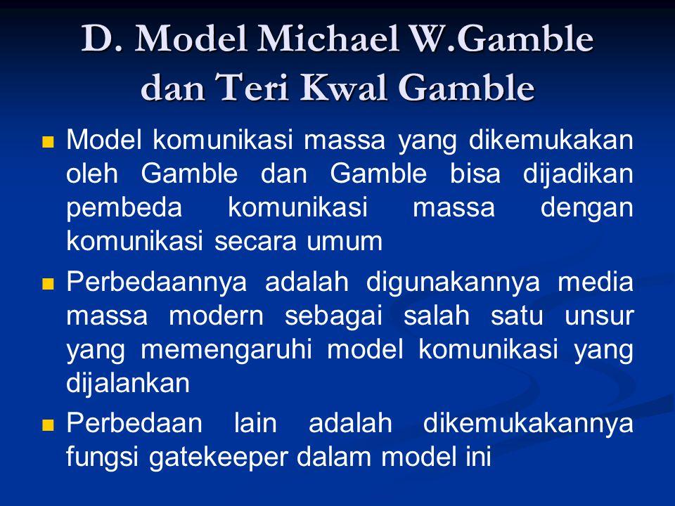 D. Model Michael W.Gamble dan Teri Kwal Gamble Model komunikasi massa yang dikemukakan oleh Gamble dan Gamble bisa dijadikan pembeda komunikasi massa