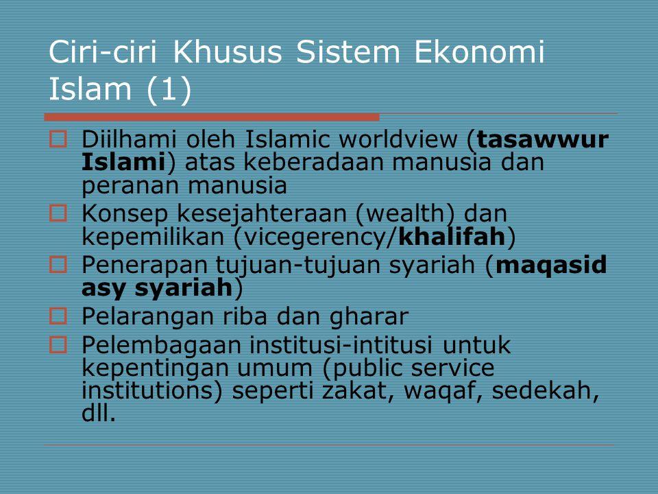 Ciri-ciri Khusus Sistem Ekonomi Islam (1)  Diilhami oleh Islamic worldview (tasawwur Islami) atas keberadaan manusia dan peranan manusia  Konsep kesejahteraan (wealth) dan kepemilikan (vicegerency/khalifah)  Penerapan tujuan-tujuan syariah (maqasid asy syariah)  Pelarangan riba dan gharar  Pelembagaan institusi-intitusi untuk kepentingan umum (public service institutions) seperti zakat, waqaf, sedekah, dll.