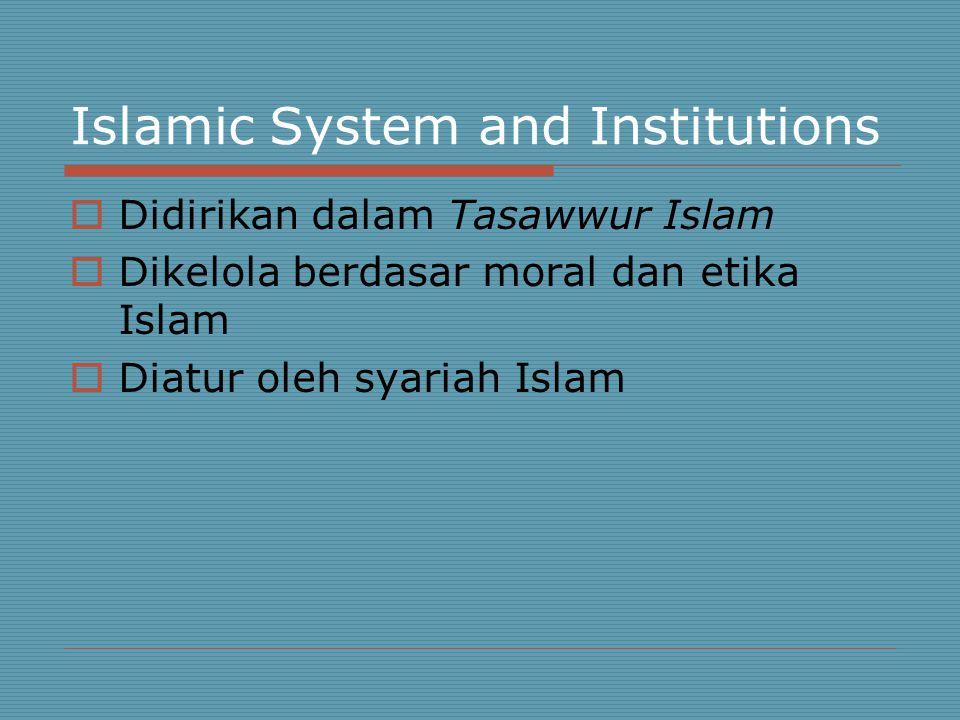 Islamic System and Institutions  Didirikan dalam Tasawwur Islam  Dikelola berdasar moral dan etika Islam  Diatur oleh syariah Islam