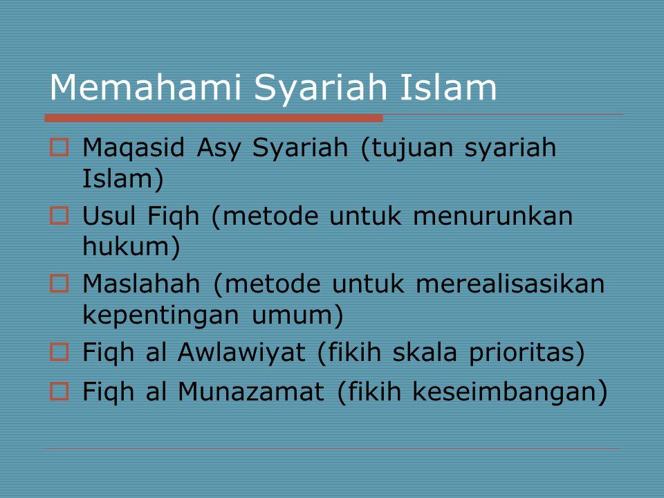 Memahami Syariah Islam  Maqasid Asy Syariah (tujuan syariah Islam)  Usul Fiqh (metode untuk menurunkan hukum)  Maslahah (metode untuk merealisasikan kepentingan umum)  Fiqh al Awlawiyat (fikih skala prioritas)  Fiqh al Munazamat (fikih keseimbangan )