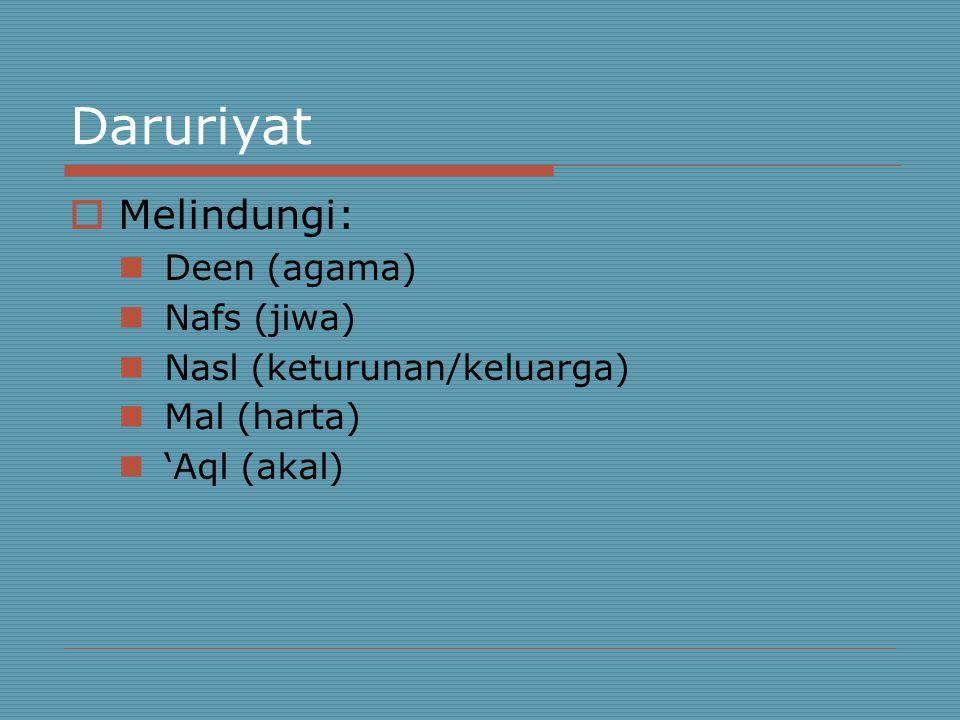Daruriyat  Melindungi: Deen (agama) Nafs (jiwa) Nasl (keturunan/keluarga) Mal (harta) 'Aql (akal)