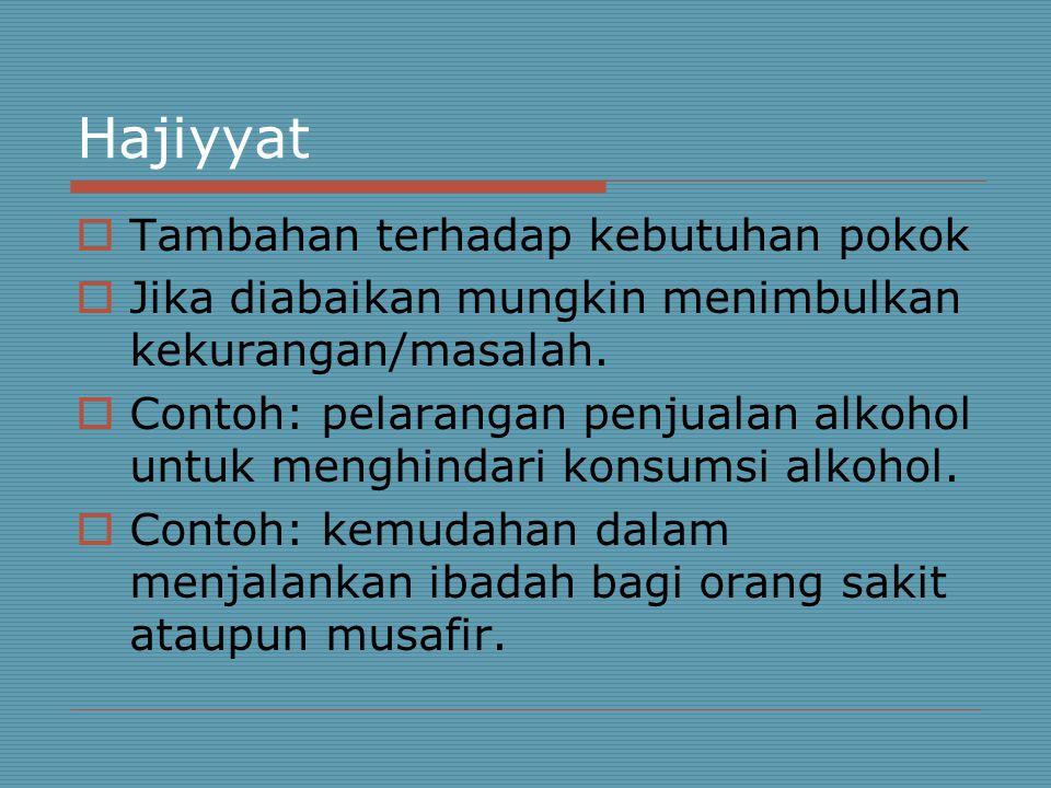 Hajiyyat  Tambahan terhadap kebutuhan pokok  Jika diabaikan mungkin menimbulkan kekurangan/masalah.