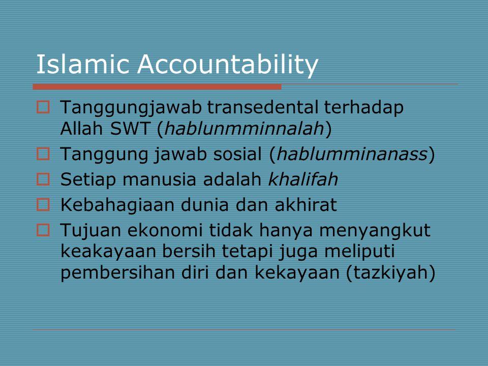 Islamic Accountability  Tanggungjawab transedental terhadap Allah SWT (hablunmminnalah)  Tanggung jawab sosial (hablumminanass)  Setiap manusia adalah khalifah  Kebahagiaan dunia dan akhirat  Tujuan ekonomi tidak hanya menyangkut keakayaan bersih tetapi juga meliputi pembersihan diri dan kekayaan (tazkiyah)