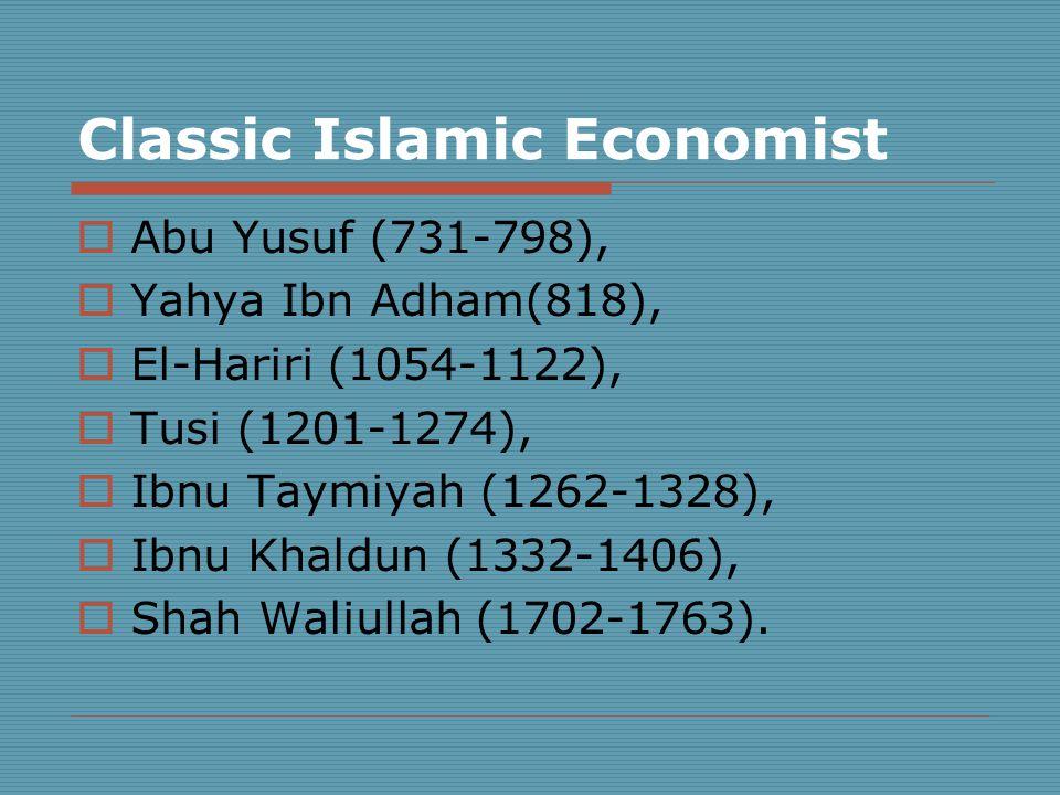 Classic Islamic Economist  Abu Yusuf (731-798),  Yahya Ibn Adham(818),  El-Hariri (1054-1122),  Tusi (1201-1274),  Ibnu Taymiyah (1262-1328),  Ibnu Khaldun (1332-1406),  Shah Waliullah (1702-1763).