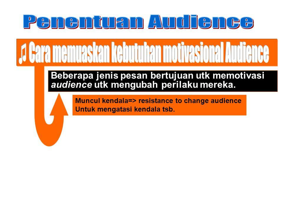Beberapa jenis pesan bertujuan utk memotivasi audience utk mengubah perilaku mereka. Muncul kendala=> resistance to change audience Untuk mengatasi ke