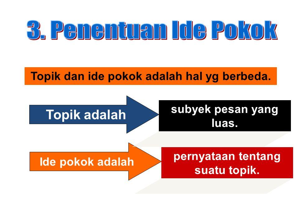 Topik dan ide pokok adalah hal yg berbeda. Topik adalah Ide pokok adalah subyek pesan yang luas. pernyataan tentang suatu topik.