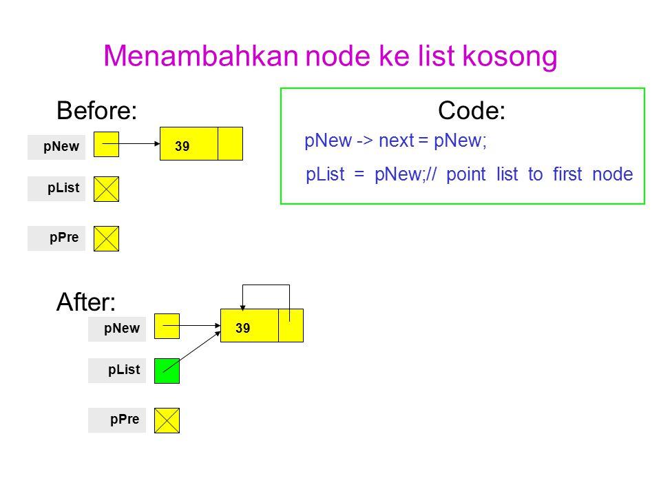 Menambahkan node ke list kosong Before: Code: pNew -> next = pNew; pList = pNew;// point list to first node After: 39pNew pList pPre 39pNew pList pPre