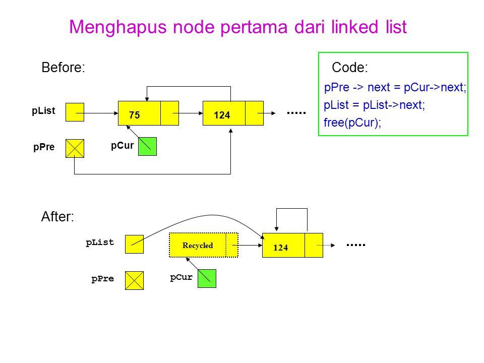 Menghapus node pertama dari linked list Before:Code: pPre -> next = pCur->next; pList = pList->next; free(pCur); After: pList pPre 75124 pCur pList pP