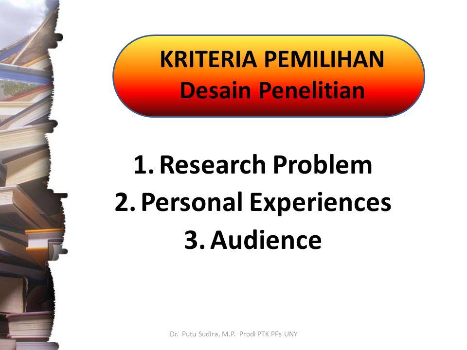 KRITERIA PEMILIHAN Desain Penelitian Dr. Putu Sudira, M.P. Prodi PTK PPs UNY 1.Research Problem 2.Personal Experiences 3.Audience