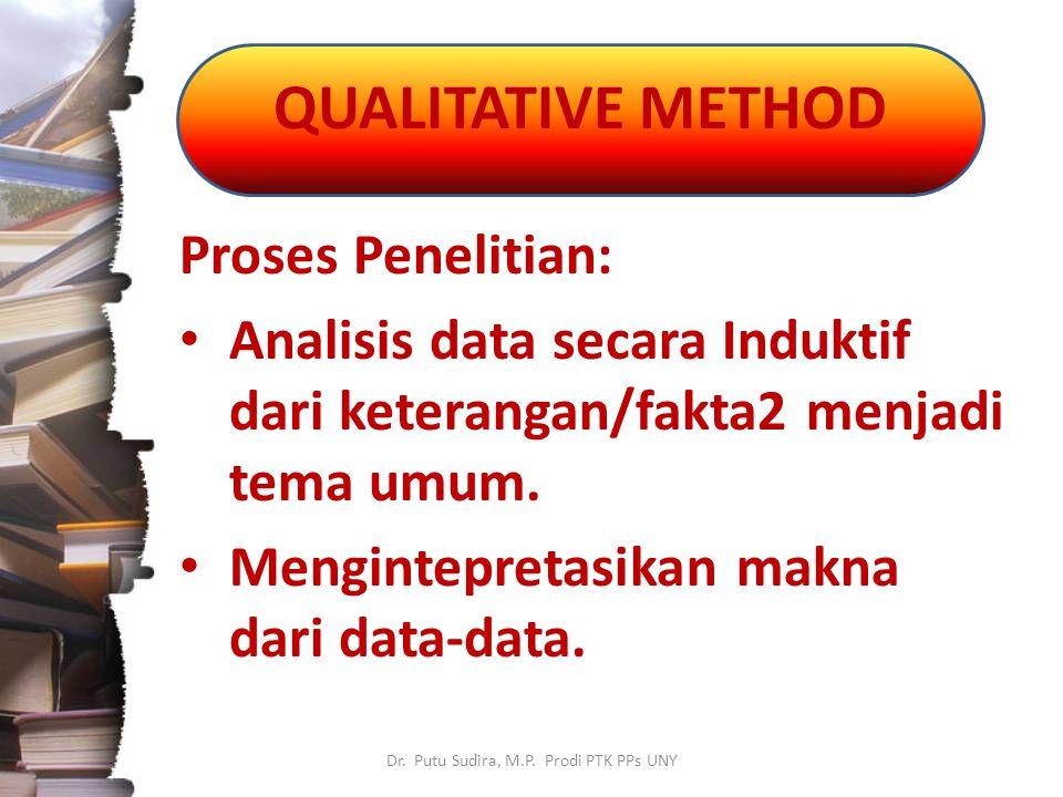 QUALITATIVE METHOD Dr. Putu Sudira, M.P. Prodi PTK PPs UNY Proses Penelitian: Analisis data secara Induktif dari keterangan/fakta2 menjadi tema umum.