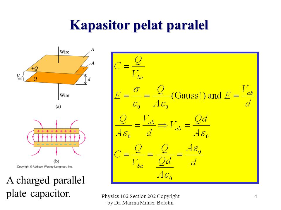 Physics 102 Section 202 Copyright by Dr. Marina Milner-Bolotin 5 Aplikasi kapasitor