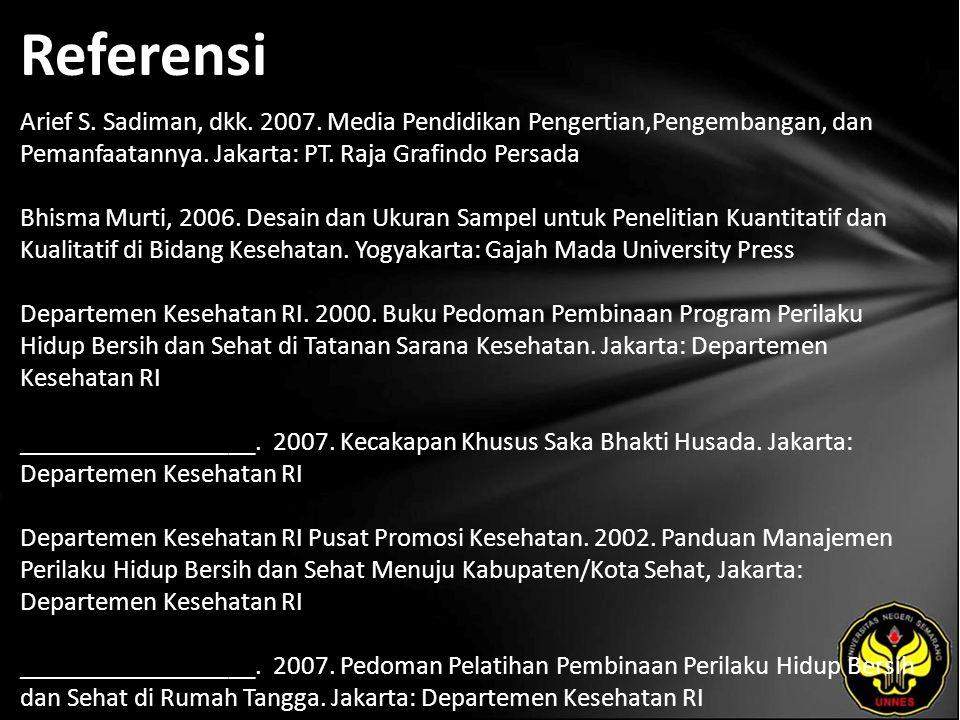 Referensi Arief S. Sadiman, dkk. 2007. Media Pendidikan Pengertian,Pengembangan, dan Pemanfaatannya. Jakarta: PT. Raja Grafindo Persada Bhisma Murti,
