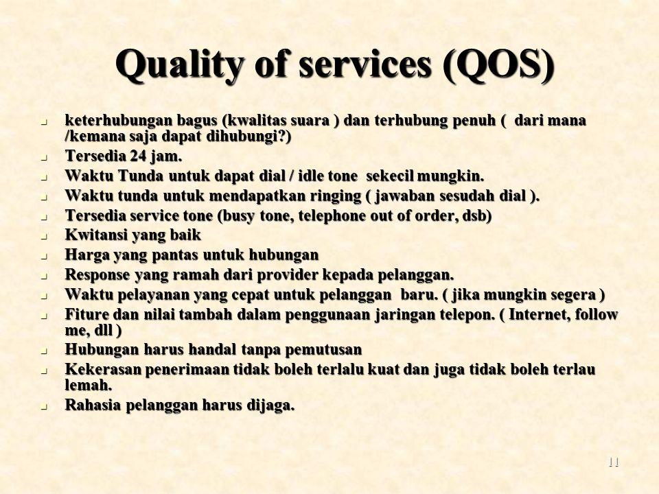 11 Quality of services (QOS) Quality of services (QOS) keterhubungan bagus (kwalitas suara ) dan terhubung penuh ( dari mana /kemana saja dapat dihubu