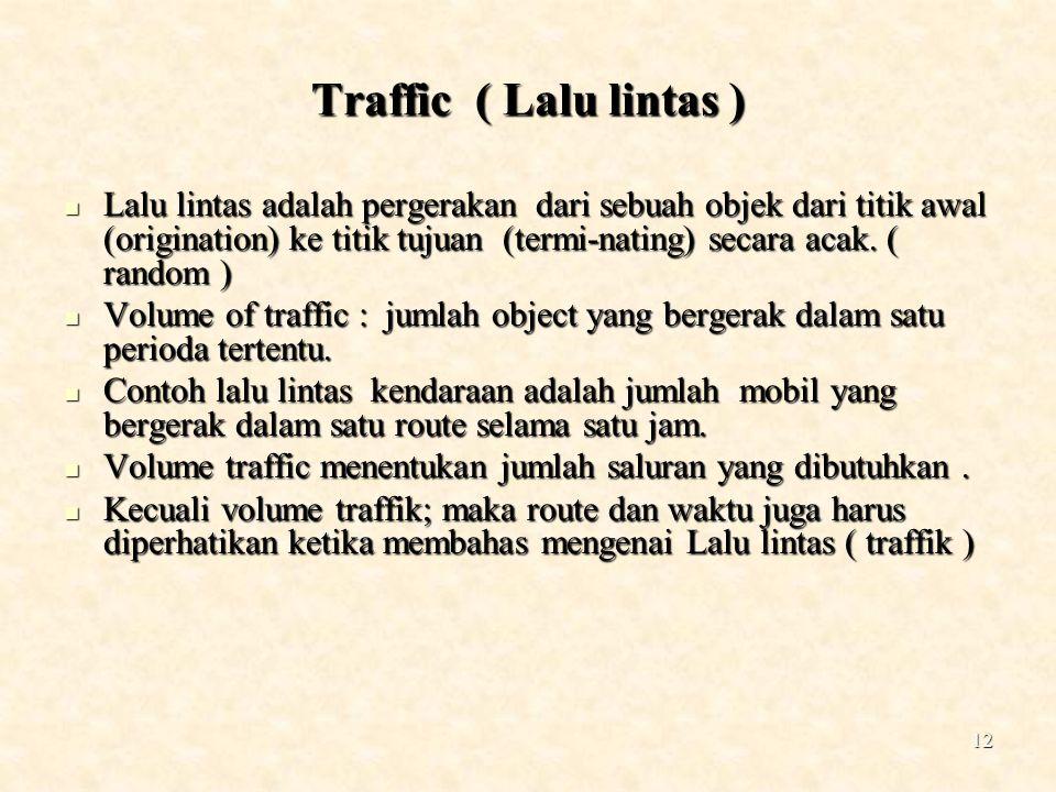 12 Traffic ( Lalu lintas ) Lalu lintas adalah pergerakan dari sebuah objek dari titik awal (origination) ke titik tujuan (termi-nating) secara acak. (