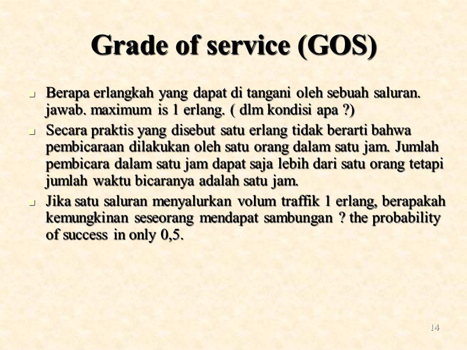 14 Grade of service (GOS) Berapa erlangkah yang dapat di tangani oleh sebuah saluran. jawab. maximum is 1 erlang. ( dlm kondisi apa ?) Berapa erlangka