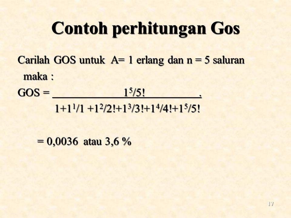 17 Contoh perhitungan Gos Carilah GOS untuk A= 1 erlang dan n = 5 saluran maka : maka : GOS = 1 5 /5!. 1+1 1 /1 +1 2 /2!+1 3 /3!+1 4 /4!+1 5 /5! 1+1 1
