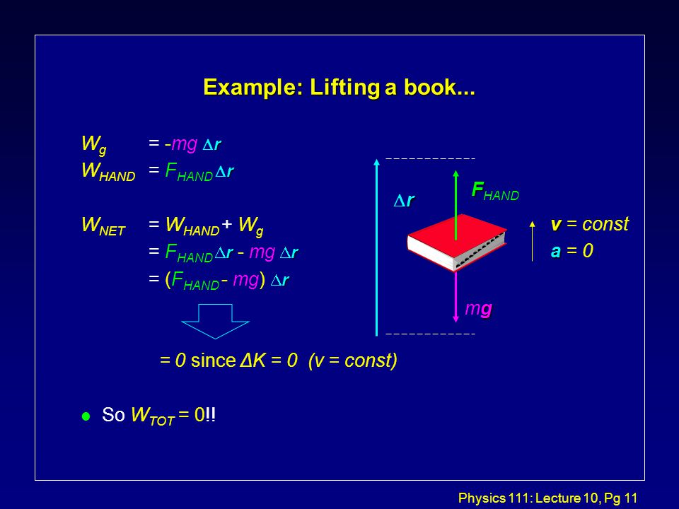 Physics 111: Lecture 10, Pg 11 Example: Lifting a book...