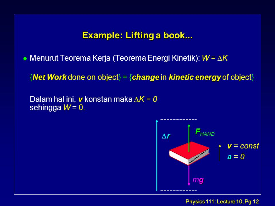 Physics 111: Lecture 10, Pg 12 Example: Lifting a book...