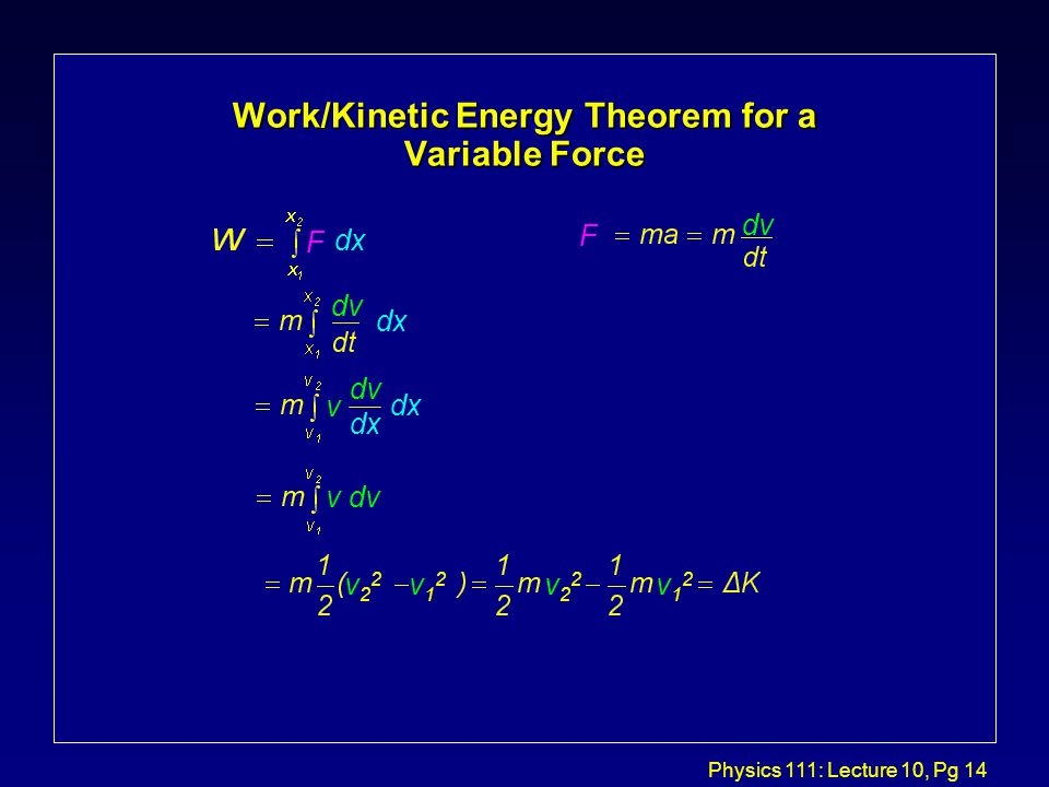Physics 111: Lecture 10, Pg 14 Work/Kinetic Energy Theorem for a Variable Force F F dx dv dx dv v dv v22v22 v12v12 v22v22 v12v12 dv dx v