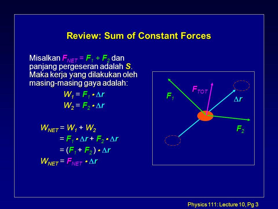 Physics 111: Lecture 10, Pg 14 Work/Kinetic Energy Theorem for a Variable Force F F dx dv dx dv v dv v22v22 v12v12 v22v22 v12v12 dv dx v