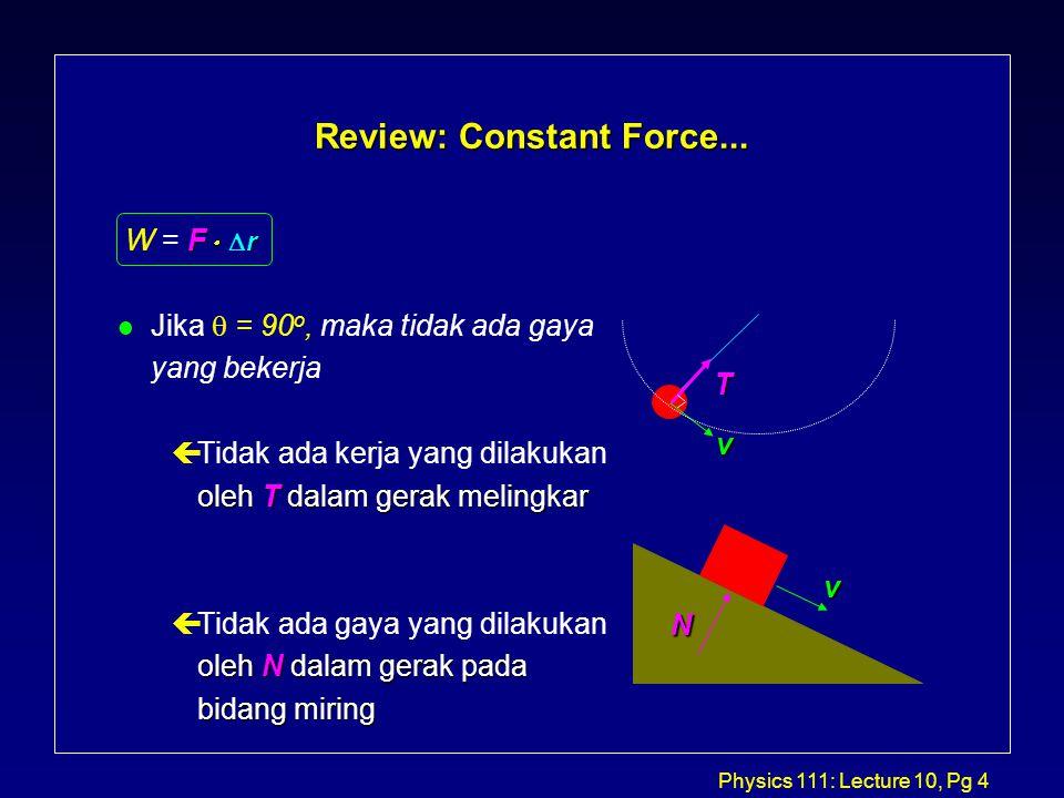 Physics 111: Lecture 10, Pg 15 1-D Variable Force Example: Spring l Pada pegas, diketahui bahwa F x = -kx.
