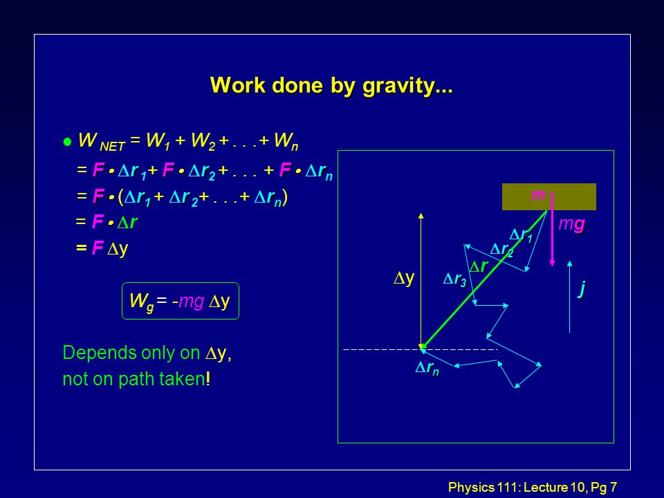 Physics 111: Lecture 10, Pg 7 Work done by gravity...