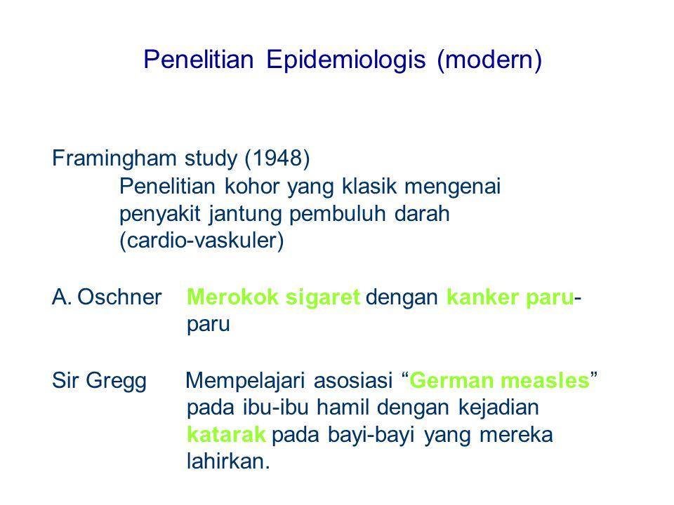 Penelitian Epidemiologis (modern) Framingham study (1948) Penelitian kohor yang klasik mengenai penyakit jantung pembuluh darah (cardio-vaskuler) A.Os