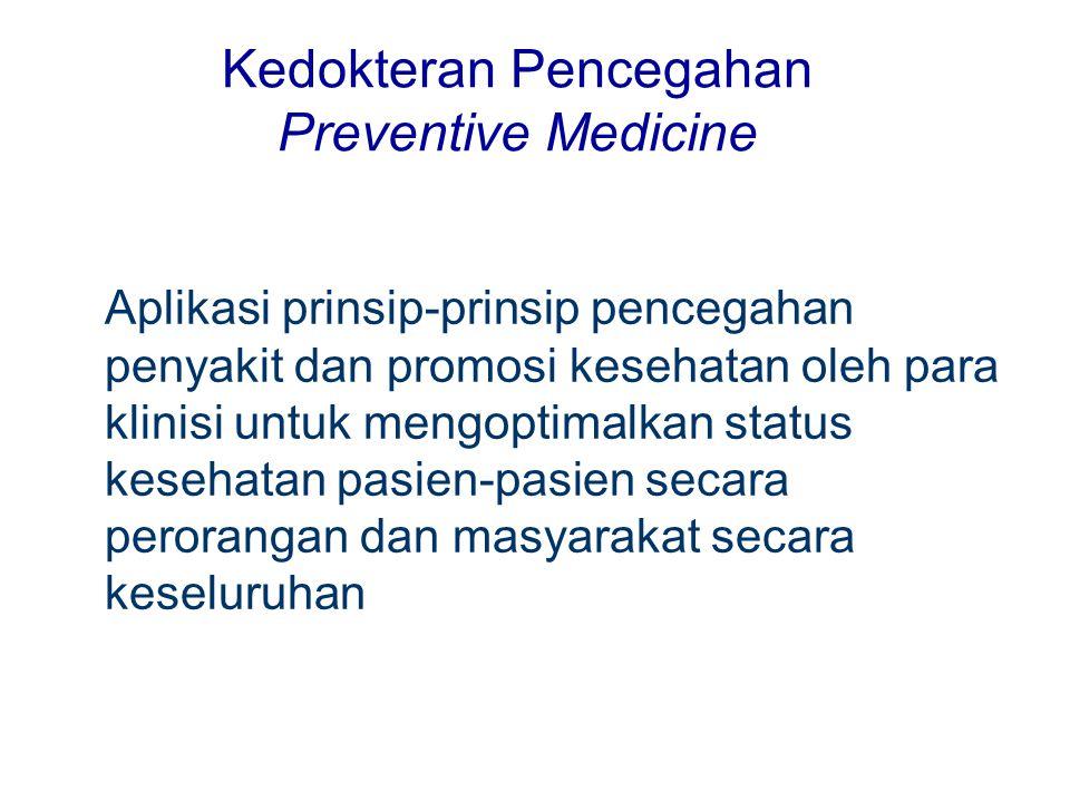Kedokteran Pencegahan Preventive Medicine Aplikasi prinsip-prinsip pencegahan penyakit dan promosi kesehatan oleh para klinisi untuk mengoptimalkan st