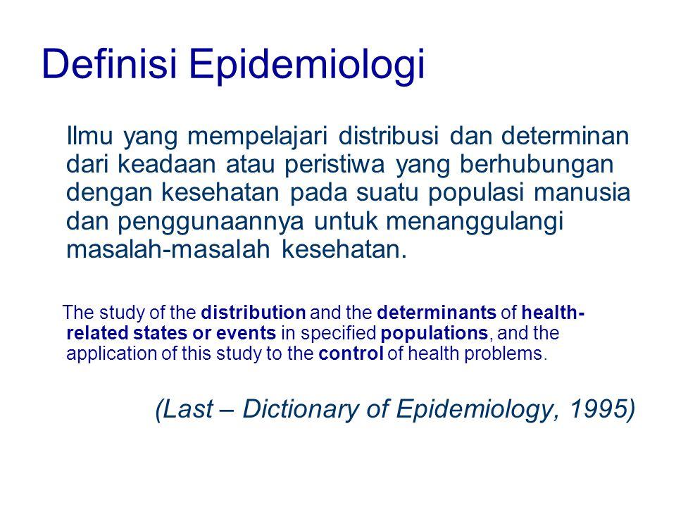 Definisi Epidemiologi Ilmu yang mempelajari distribusi dan determinan dari keadaan atau peristiwa yang berhubungan dengan kesehatan pada suatu populas