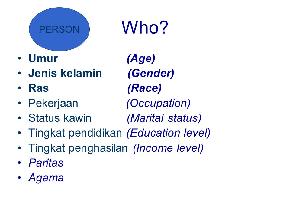 Who? Umur (Age) Jenis kelamin (Gender) Ras (Race) Pekerjaan (Occupation) Status kawin (Marital status) Tingkat pendidikan (Education level) Tingkat pe