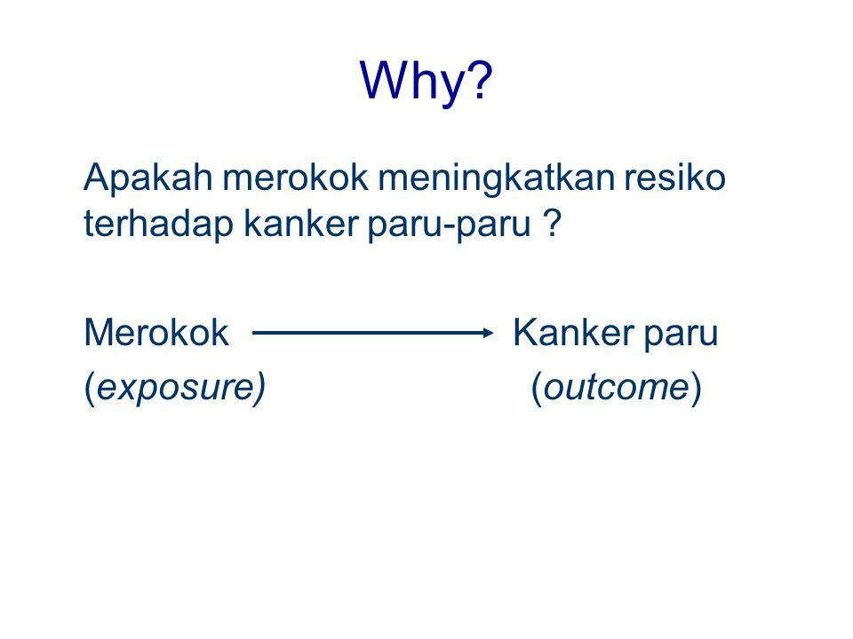 Why? Apakah merokok meningkatkan resiko terhadap kanker paru-paru ? Merokok Kanker paru (exposure) (outcome)