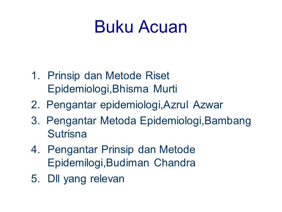 Buku Acuan 1.Prinsip dan Metode Riset Epidemiologi,Bhisma Murti 2. Pengantar epidemiologi,Azrul Azwar 3. Pengantar Metoda Epidemiologi,Bambang Sutrisn
