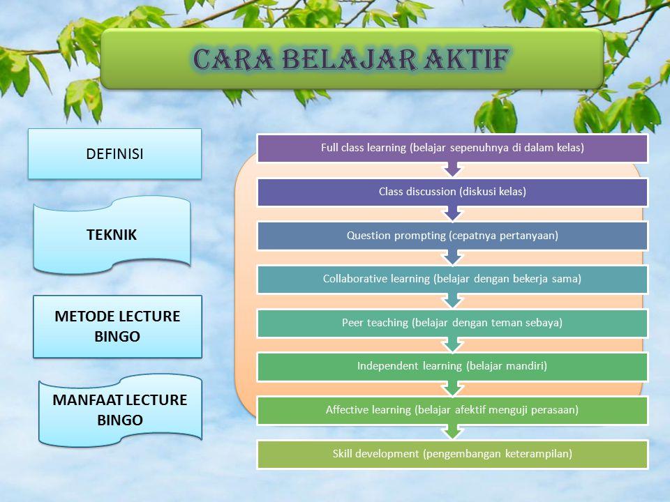 TEKNIK BELAJAR AKTIFBELAJAR TEKNIK BELAJAR AKTIFBELAJAR METODE LECTURE BINGO MANFAAT LECTURE BINGOSlide 13Slide 13 Skill development (pengembangan keterampilan) Affective learning (belajar afektif menguji perasaan) Independent learning (belajar mandiri) Peer teaching (belajar dengan teman sebaya) Collaborative learning (belajar dengan bekerja sama) Question prompting (cepatnya pertanyaan) Class discussion (diskusi kelas) Full class learning (belajar sepenuhnya di dalam kelas) TEKNIK METODE LECTURE BINGO MANFAAT LECTURE BINGO