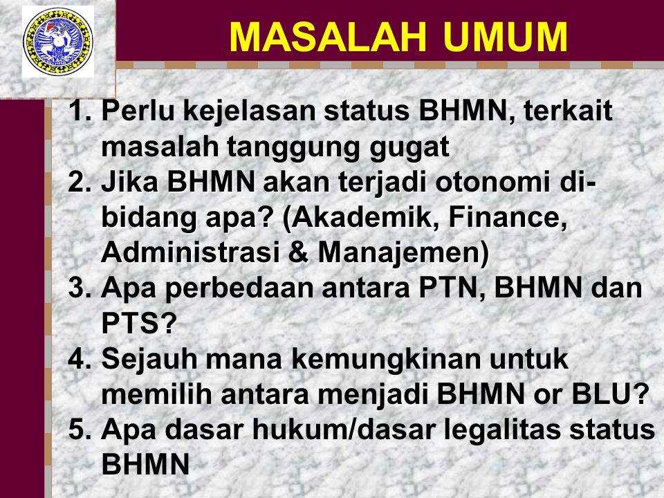 MASALAH UMUM 1.Perlu kejelasan status BHMN, terkait masalah tanggung gugat 2.Jika BHMN akan terjadi otonomi di- bidang apa.