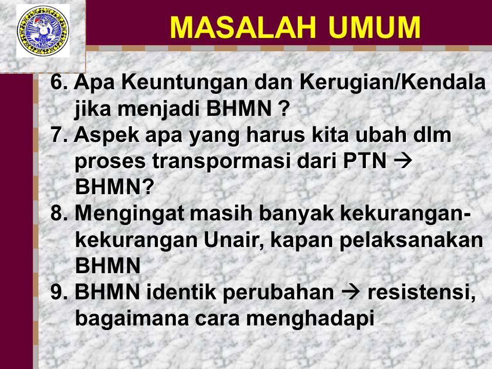 MASALAH UMUM 6. 6. Apa Keuntungan dan Kerugian/Kendala jika menjadi BHMN .