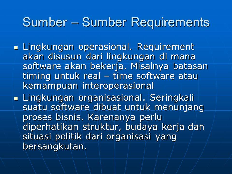 Sumber – Sumber Requirements Lingkungan operasional. Requirement akan disusun dari lingkungan di mana software akan bekerja. Misalnya batasan timing u